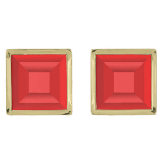 Red stones gold finish cufflinks