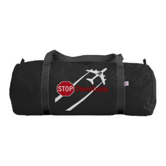 Red Stop Sign Plane White Chemtrails Skull Bones Gym Duffel Bag