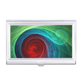 Red Storm Abstract Art Business Card Holder