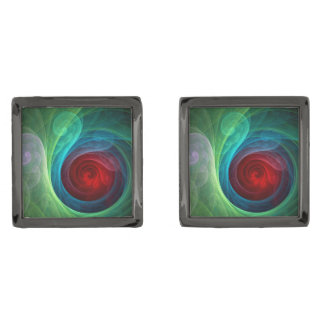 Red Storm Abstract Art Gunmetal Finish Cuff Links
