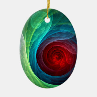 Red Storm Abstract Art Oval Ornament