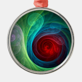 Red Storm Abstract Art Round Christmas Ornament