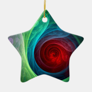 Red Storm Abstract Art Star Ornament