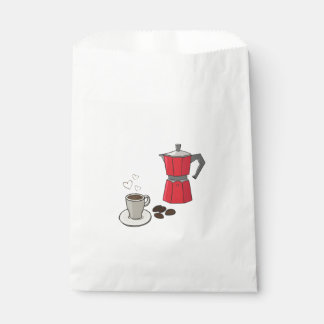 Red Stovetop Espresso Maker Cup Beans Favour Bags