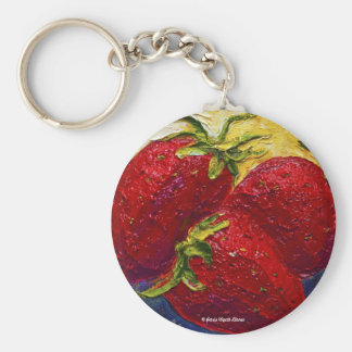 Red Strawberries Fruit Painting Basic Round Button Key Ring