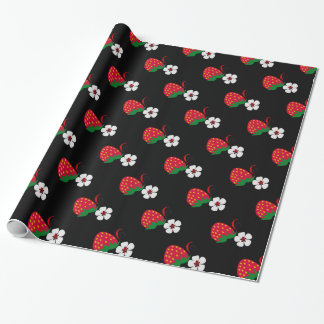 Red Strawberries on Black Wrapping Paper