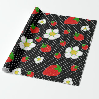 Red Strawberry Dots in Black Wrapping Paper