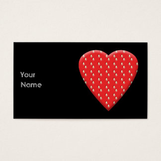 Red Strawberry Heart. Business Card