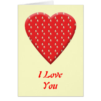 Red Strawberry Heart. Card
