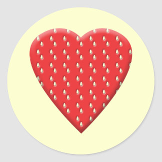 Red Strawberry Heart. Classic Round Sticker