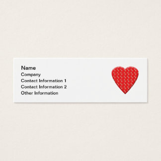 Red Strawberry Heart Mini Business Card