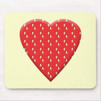 Red Strawberry Heart Mouse Pads