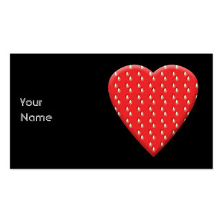 Red Strawberry Heart. Pack Of Standard Business Cards
