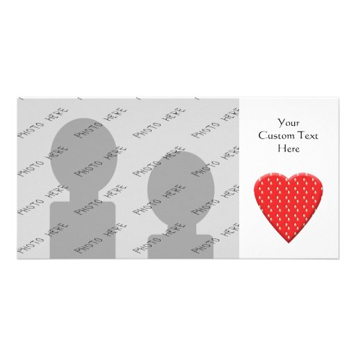 Red Strawberry Heart Photo Card Template