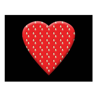 Red Strawberry Heart. Postcard