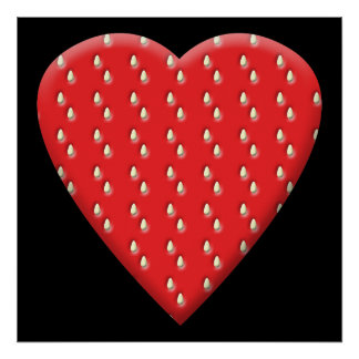 Red Strawberry Heart. Print