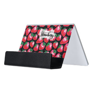 Red strawberry on  black background desk business card holder