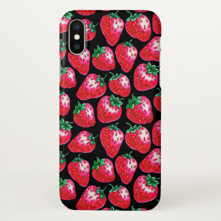Red Strawberry on black background iPhone X Case