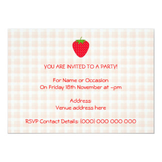 Red Strawberry on Gingham Check. 13 Cm X 18 Cm Invitation Card