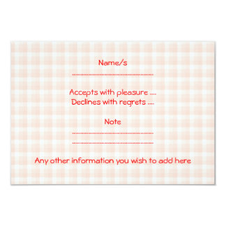 Red Strawberry on Gingham Check. 9 Cm X 13 Cm Invitation Card