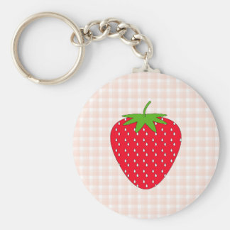 Red Strawberry on Gingham Check. Basic Round Button Key Ring