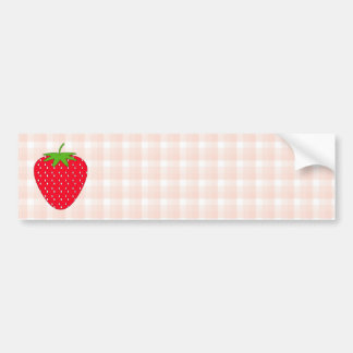 Red Strawberry on Gingham Check. Bumper Sticker