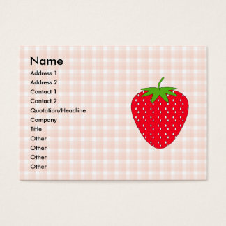 Red Strawberry on Gingham Check. Business Card