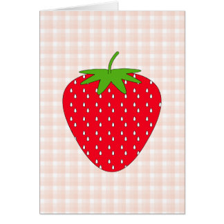 Red Strawberry on Gingham Check Cards