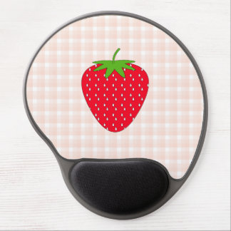 Red Strawberry on Gingham Check. Gel Mouse Pad