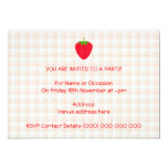 "Red Strawberry on Gingham Check. 5"" X 7"" Invitation Card"