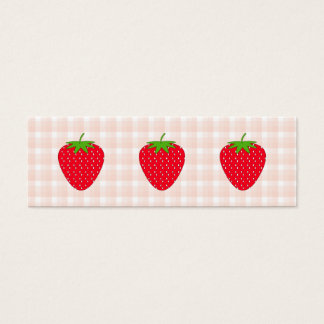Red Strawberry on Gingham Check. Mini Business Card