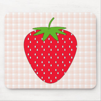 Red Strawberry on Gingham Check. Mouse Pads