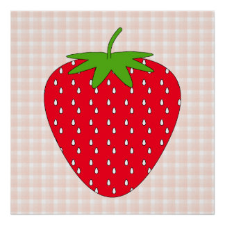 Red Strawberry on Gingham Check. Poster