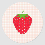 Red Strawberry on Gingham Check. Classic Round Sticker