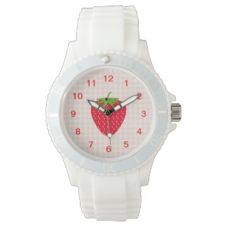 Red Strawberry on Gingham Check. Watch