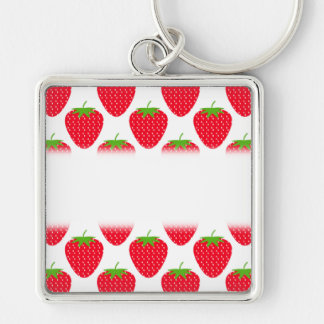 Red Strawberry Pattern. Key Ring