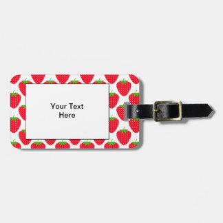 Red Strawberry Pattern. Luggage Tag