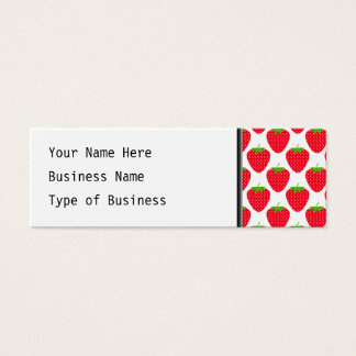 Red Strawberry Pattern. Mini Business Card