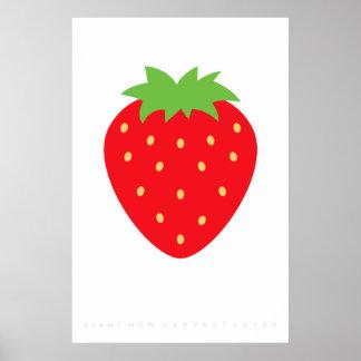 Red Strawberry Retro Poster 60's 70's Quote