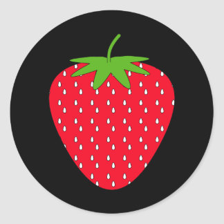Red Strawberry Round Stickers