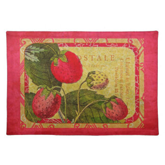 Red Strawberry Vintage French Fruit Postcard Place Mat