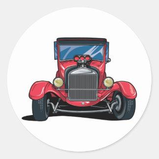Red Street Rod Classic Round Sticker