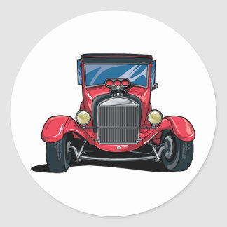 Red Street Rod Round Sticker