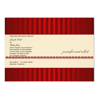 "Red Stripe and Ivory Band with Rubies Wedding 5"" X 7"" Invitation Card"