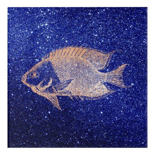 Red Stripe Fish Sea Ocean Blue Rose Gold
