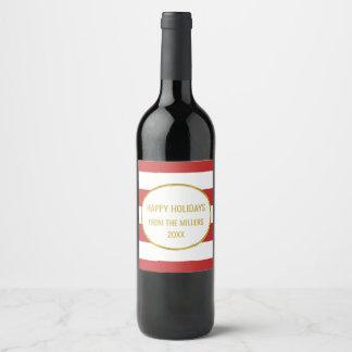 Red Stripe Gold Custom Christmas Wine Wine Label