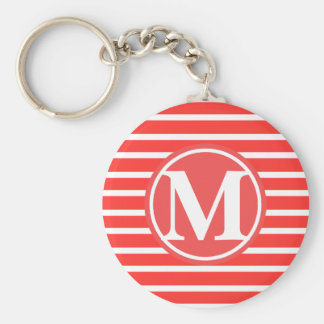 Red Stripe Pattern Monogrammed Basic Round Button Key Ring