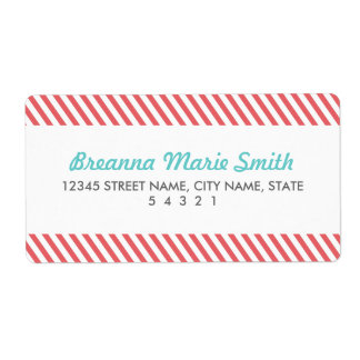 Red Striped Address Labels