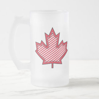 Red Striped  Applique Stitched Maple Leaf Frosted Glass Mug