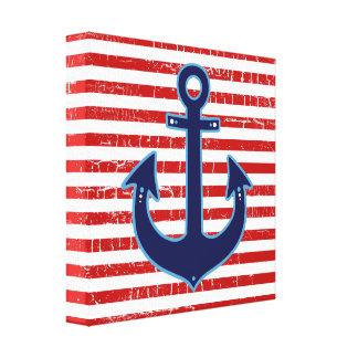 red striped blue sailor anchor canvas print